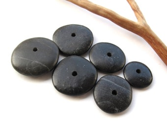 Rock Donut Beads Center Drilled Mediterranean Beach Stone Pebble Jewelry Making DIY River Stone Rock Stack Stone Cairn BLACK WHEELS 17-25 mm