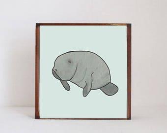 manatee tropical beach nursery prints- tropical decor- animal print- boho nursery- jungle nursery art block nursery decor redtilestudio