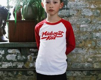 Midwest Kid Vintage Unisex Kids Raglan T-Shirt. White/Red Triblend 3/4 length baseball kids tee. Shirt for Boys and Girls