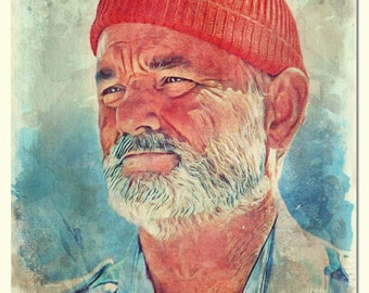 Steve Zissou-The Life Aquatic watercolor painting Art Print