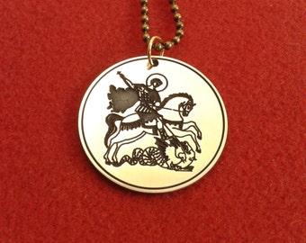 St george necklace catholic necklace lapis lazuli gemstone st george necklace christian saint aloadofball Image collections