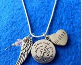 Birthstone Angel Wing Necklace