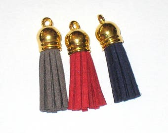 3 charm suede tassel, blue, red, Brown