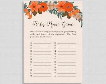 Baby Name Game, Fall Wreath Baby Shower Activity, Autumn Shower Game, DIY Printable, INSTANT DOWNLOAD