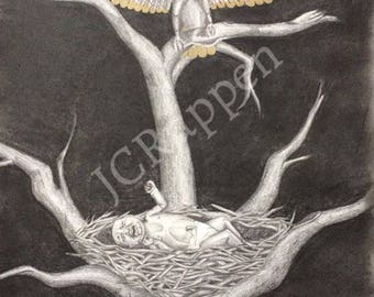 "12""x18"" Original graphite drawing gold tipped eagle wings baby nest dark art"