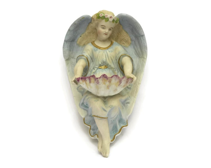 Antique Porcelain Angel Holy Water Font. French Religious Gift. Christmas Angel Figurine.