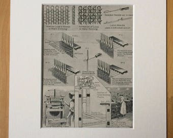 1935 Knitting Machines Original Vintage Print - Available Framed - 10 x 12 inches - Technology - Haberdashery - Decorative Wall Decor