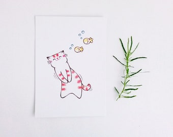 Postcard Cat, Cat Drawing, Kitty Illustration, Cat Art Print, Nursery Art, Cute Illustration - Kitty and Fishes