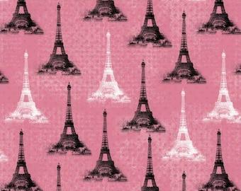 Floral Fabric, Paris Eiffel Tower Fabric: Rosenthal Represents Paris Eiffel Tower PINK Premium by David Textiles 100% cotton Fabric (DA48)