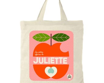 """Tote Bag personalized """"Apple"""". Girl or boy name + choose pink or green colors"""