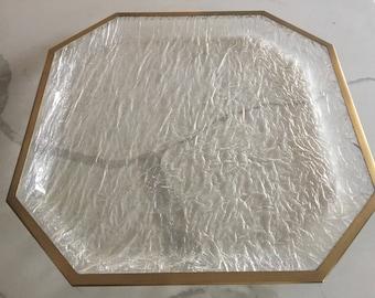 Large Vintage Iced Lucite Brass framed Tray- Hollywood Regency