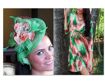 Kentucky derby fascinator hat green Fascinator  Coral Flower  Green Wedding Hat PIPPA YULIA GREEN