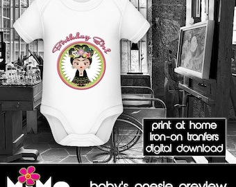 PRINTABLE - Letter size - Frida Kahlo - Birthday Girl - DIY - T-Shirt - Iron on transfer file – Jpg/Png 300dpi.