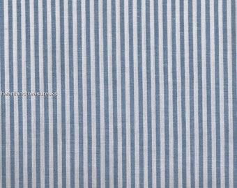 Dunroven House H-860 Homespun Chambray Blue Striped Fabric 1/2 Yd Cut