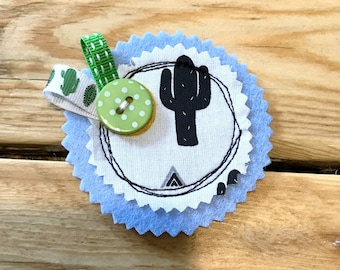 Fantasy brooch, cactus theme/blue/green