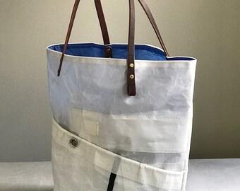 Sail cloth purse, four pocket, maroon latigo leather handle,