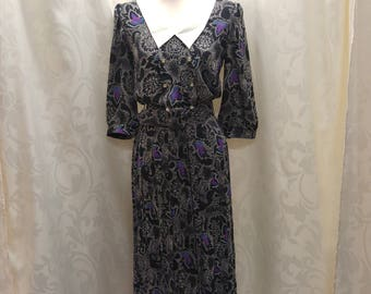80s Collared Dress Vintage Housewife 1980's Black Floral with Belt