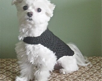 Black Hand Crochet Dog TSHIRT 100 Percent Cotton