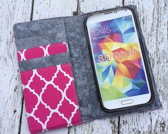 Samsung Galaxy wallet, Galaxy case - Hot pink quatrefoil with removable gel case