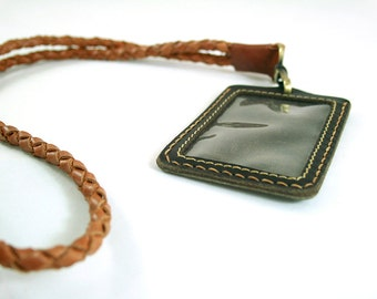Leather Lanyard, ID Lanyard, Badge Holder, Leather Tag, Braided Lanyard, Personalized Lanyard,Braided Chain, Leather Tag Holder, Custom Tag