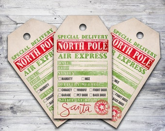 image relating to Free Printable North Pole Special Delivery Printable identified as against santa tags -
