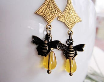 Tiny Bee Earrings, Bohemian Brass Dangle Drop, Bee Charm, Topaz, Woodland, Botanical, Redpeonycreations