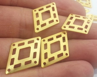 8 Pcs (25x16 mm) Gold Plated Brass  Charms  G2287