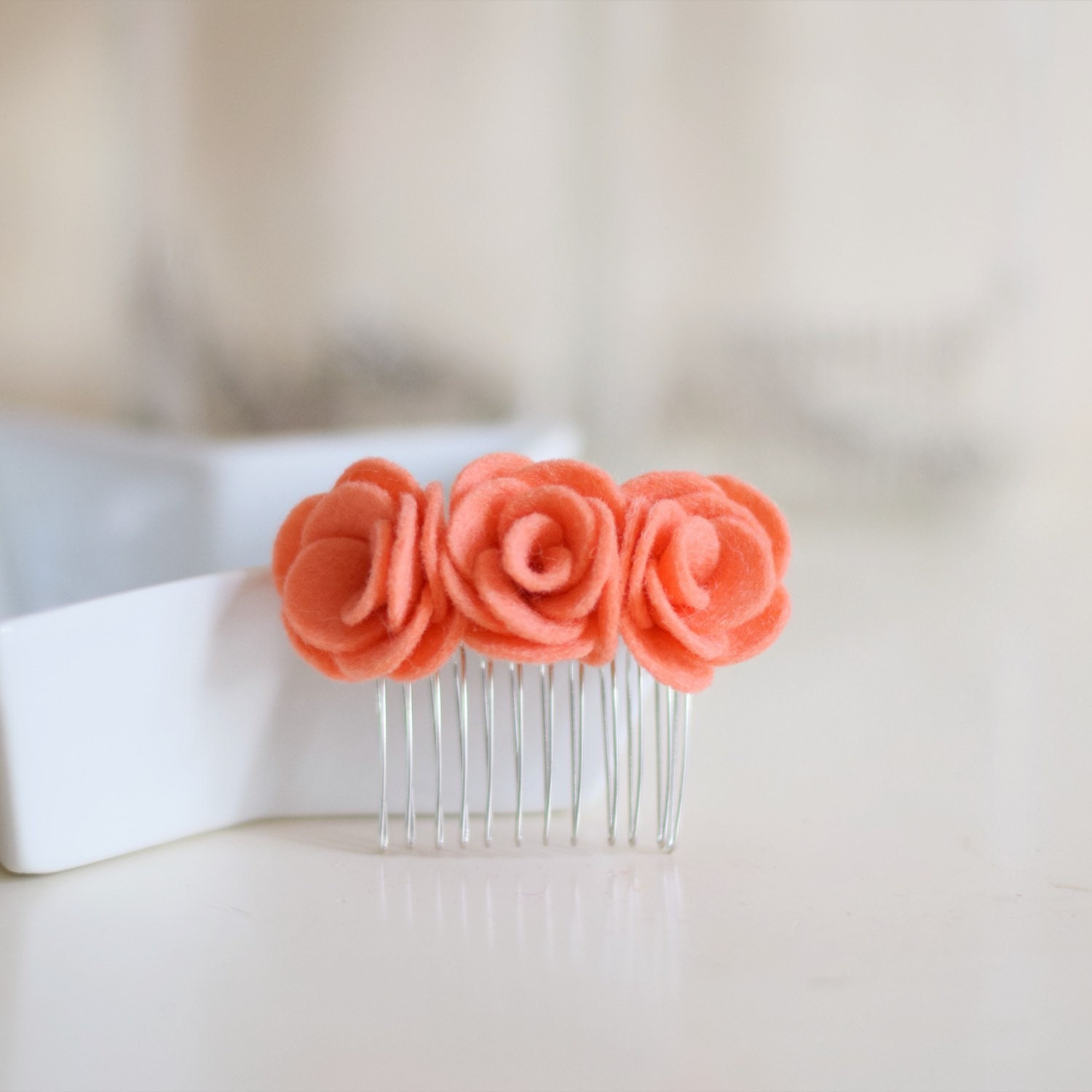 Coral felt flower hair comb | bridesmaids hair accessories | for the ...