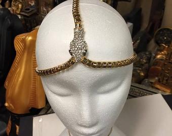 Unique Hand Carved Metal Rhinestone Egyptian Cleopatra  Cobra  Headband Made In Egypt