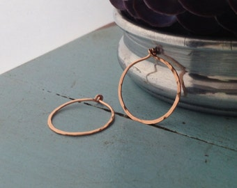 Rose Gold Filled Hammered Circle Hoops - Small (H02RG-S) Minimalist, Textured - handmade wire jewelry by cristysjewelry on etsy