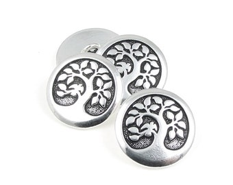Bird in a Tree Button by TierraCast - Tree of Life Antique Silver Button Findings Clasp Leather Findings for Mindfulness Jewelry (PF782)