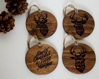 Rustic Christmas Decorations, Hipsters Ornaments, Christmas Ornament Set, Wooden Christmas Ornament Set, Christmas Gift