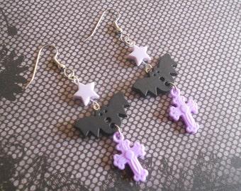 Bat earrings with stars and crosses creepy lolita fairy kei pastel goth