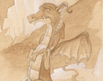 Brown Dragon 5x7 Signed Print