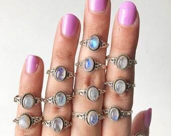 Cute Rainbow Moonstone 925 Silver Ring, Moonstone Stacking Ring, Cute Rainbow Moonstone Ring, silver dotted ring