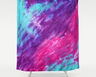 Fabric Shower Curtain-Pink Purple Turquiose Tie Dye-Decorative Shower Curtain-71x74 inches,