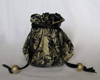 Jewelry Bag - Medium Size - Fabric Tote - Drawstring Jewelry Pouch - TERRIFIC TOILE
