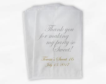 Sweet 16 Party Personalized Candy Buffet Paper Treat Bags - Set of 25 Gray and Gold Thank You Favor Bags with Name and Date (0143)