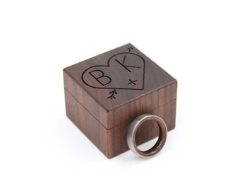 Personalized Ring Box - Custom Wood Ring Box - Ring Bearer Box - Engagement - Proposal Ring Box