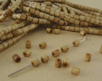 40 Heishi Bone beads 3mm Tube beads Brown Tea Dyed Natural Beads Tiny Small tube beads