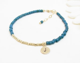 Gold Beaded Initial Bracelet - Personalized Gold Layering Bracelet - Small Gold Monogram Jewelry - Bracelet for Teen Tween - Blue Green Teal