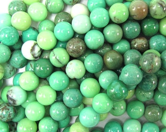 "6mm green chrysoprase round beads 15.5"" strand S2 35028"