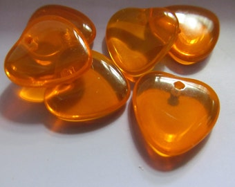 Vintage Glass Beads (8)(15mm) Orange Heart Dangles Charms Beads