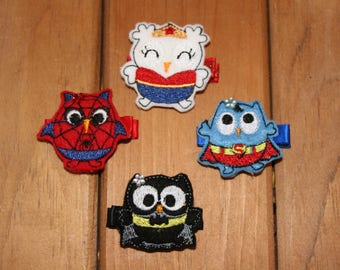 Owl Be Your Hero Clippie, Your Choice of Hero Inspired Owl Hair Clip