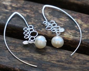 Pearl Earrings - Onyx Earrings - Coral Earrings, Silver Gemstone Earrings, Gem Earrings, Silver Wire Earrings