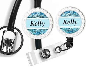 Personalized Badge Reel,Stethoscope ID Tag Clip, Nurse Accessory, Medical Nurse Home Care,Job ID Badge Reel