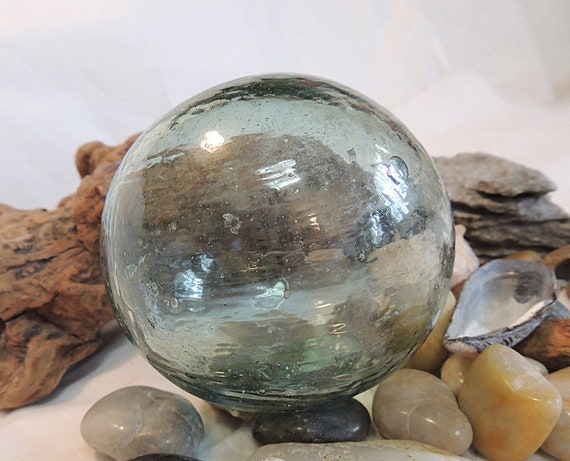 Vintage Japanese Glass FISHING FLOAT.. Bubbles, Striations.. Moss Green (#22)