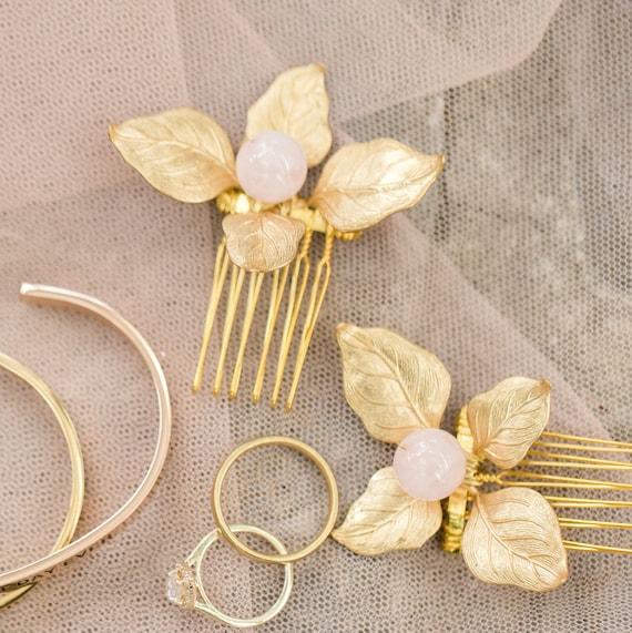 Gold Leaf Hair Comb,  Gold Leaf Hair Piece, Bridal Hair Comb, Gemstone Hair Comb, Gold Leaf Headpiece, Rose Quartz, Rose Quartz Hair Combs