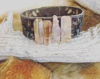 Leather Crystal Cuff Bracelet