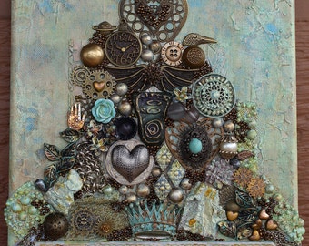 Canvas Heart Art - Mixed Media Assemblage Wall Art
